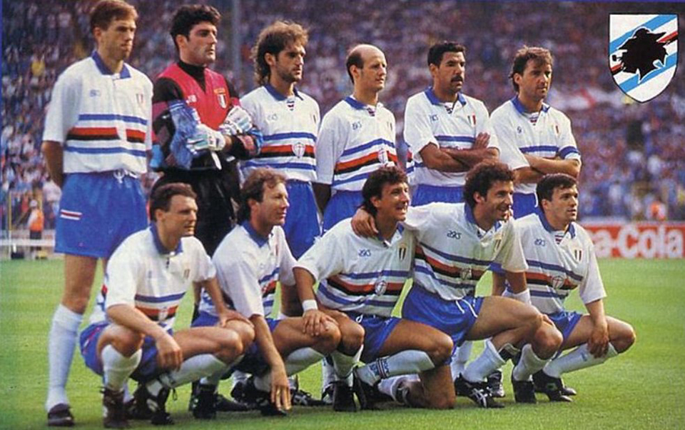 1a010c006aa3d1 Sampdoria wore white shirts that night at Wembley, identical to the one in  these pictures but for the scudetto shield, missing sponsor and  commemorative ...